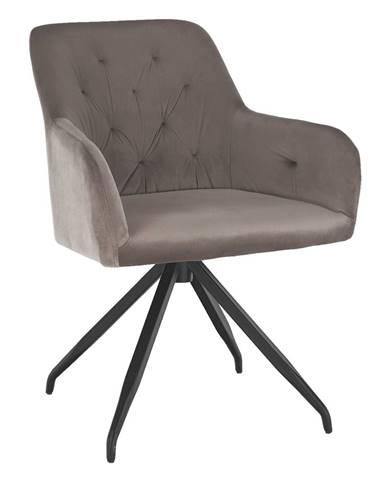 Otočná stolička sivohnedá Taupe Velvet látka/čierna VELEZA rozbalený tovar