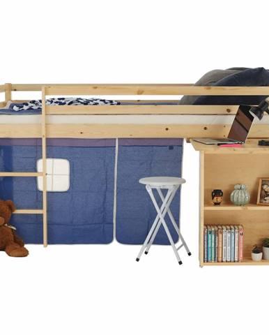 Posteľ s PC stolom borovicové drevo/modrá 90x200 ALZENA rozbalený tovar