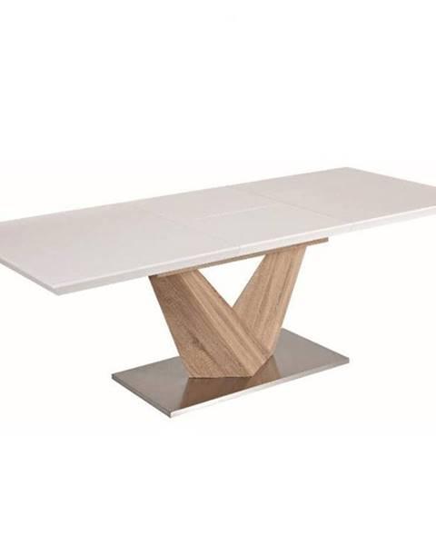 Kondela Jedálenský stôl biela extra vysoký lesk HG/dub sonoma DURMAN