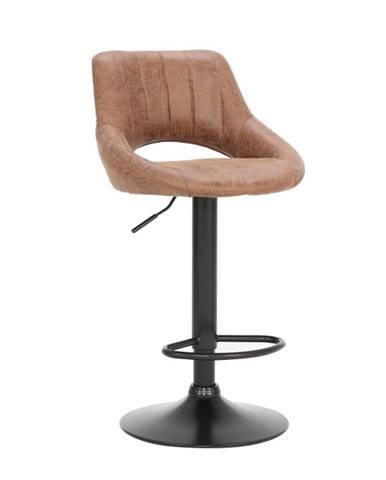 Barová stolička hnedá látka s efektom brúsenej kože LORASA