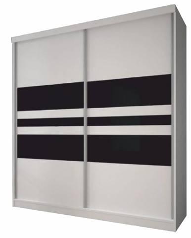 Skriňa s posuvnými dverami biela/čierne sklo 233x218 MULTI 11