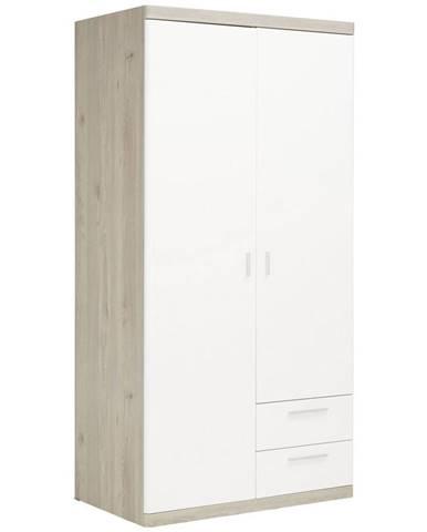 Xora ŠATNÍKOVÁ SKRIŇA, biela, farby dubu, 100/197/60 cm - biela, farby dubu