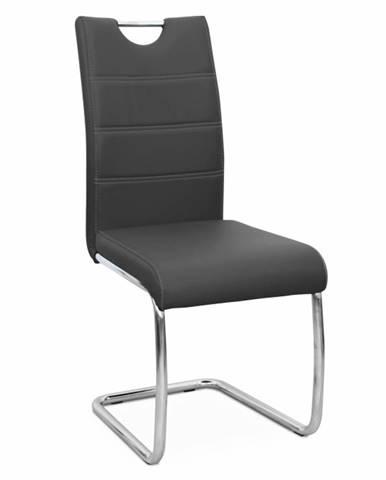 Jedálenská stolička čierna/svetlé šitie ABIRA NEW poškodený tovar