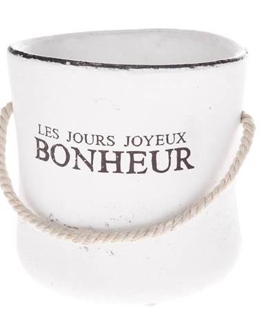Keramický obal na kvetináč Bonheur biela, 15 cm