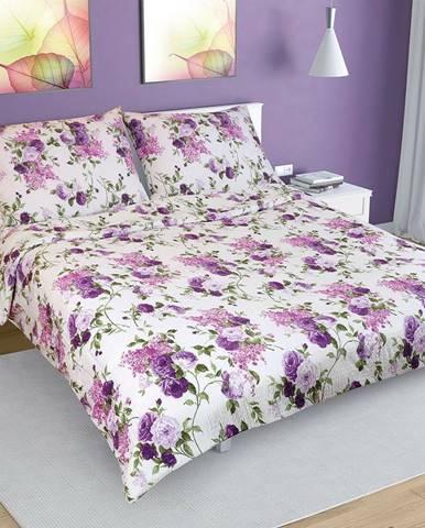 Bellatex Krepové obliečky Ruže lila, 200 x 220 cm, 2 ks 70 x 90 cm