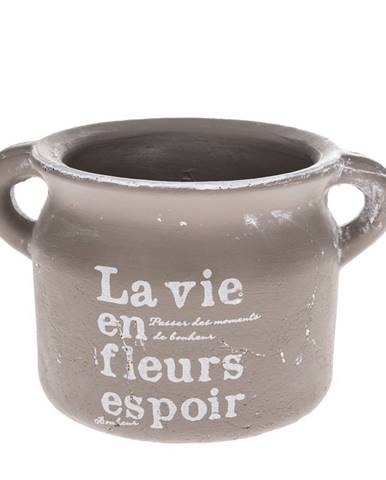 Keramický obal na kvetináč La vie hnedá, 18,5 cm