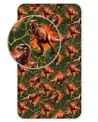 Jerry Fabrics Bavlnené prestieradlo Jurský svet Lava, 90 x 200 cm
