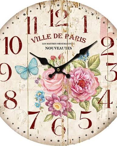 Drevené nástenné hodiny Ville de Paris, 34 cm