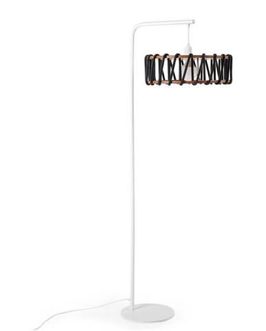 Stojacia lampa s bielou konštrukciou a veľkým čiernym tienidlom EMKO Macaron