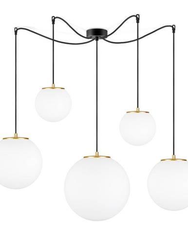 Biele závesné svietidlo s 5 tienidlami a objímkou v zlatej farbe Sotto Luce tsuki