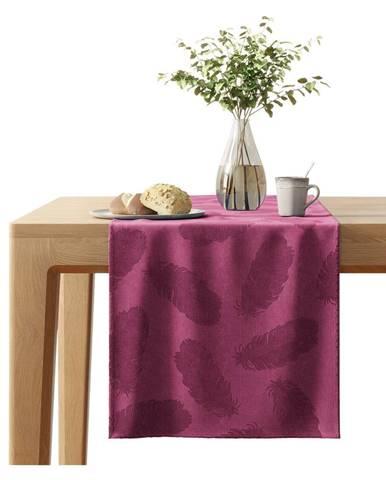 Červený behúň na stôl so zamatovým povrchom AmeliaHome Peacock, 40 x 140 cm