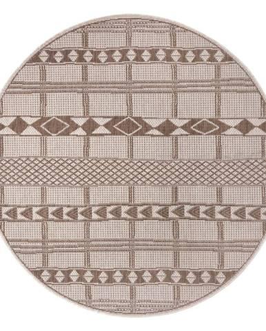 Hnedo-béžový vonkajší koberec Ragami Madrid, ø 120 cm