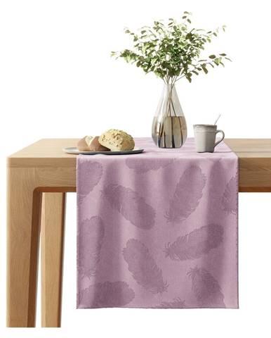 Ružový behúň na stôl so zamatovým povrchom AmeliaHome Peacock, 40 x 140 cm