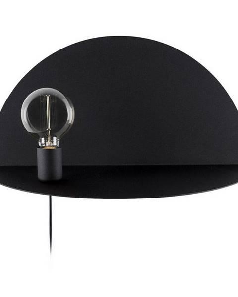 Homemania Decor Čierne nástenné svietidlo s poličkou Homemania Decor Shelfie