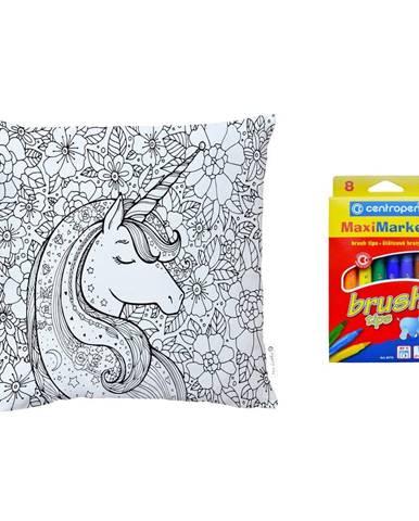 Set obliečky na vankúš z bavlneného saténu a fixiek na textil Mr. Little Fox Flower Unicorn, 50 x 50 cm