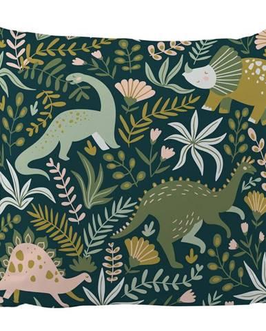 Tmavozelená obliečka na vankúš z bavlneného saténu Mr. Little Fox Friendly Dinosaurus, 50 x 50 cm