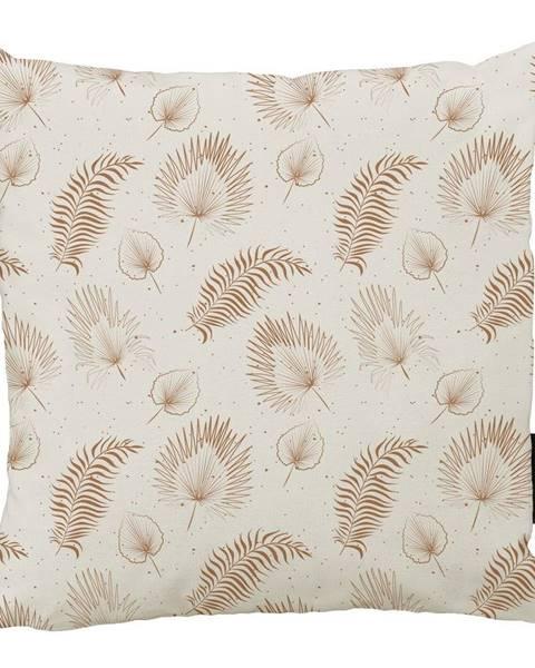 Butter Kings Béžový bavlnený dekoratívny vankúš Butter Kings Boho Leaves, 50 x 50 cm