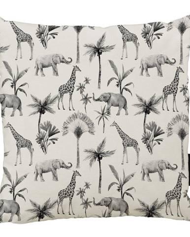 Béžovo-sivý bavlnený dekoratívny vankúš Butter Kings Safari Animals, 50 x 50 cm