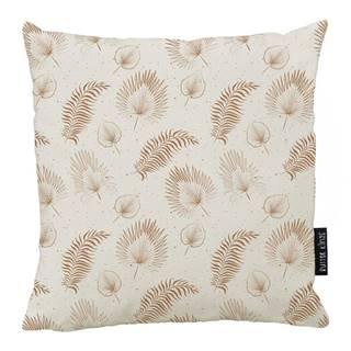Béžový bavlnený dekoratívny vankúš Butter Kings Boho Leaves, 50 x 50 cm