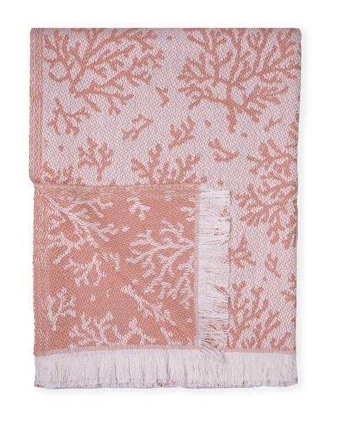 Euromant Oranžový pléd s podielom bavlny Euromant Summer Coral, 140 x 180 cm
