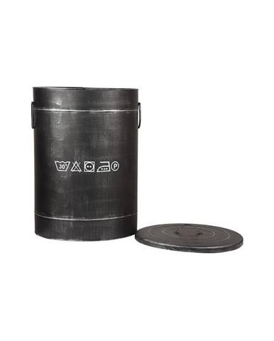 Čierny kovový kôš na špinavé prádlo LABEL51, ⌀ 40 cm