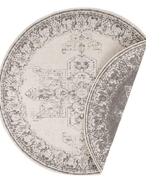 Bougari Sivo-krémový vonkajší koberec Bougari Borbon, ø 140 cm