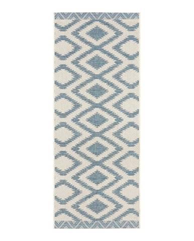 Modro-krémový vonkajší koberec Bougari Isle, 70 x 200 cm