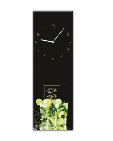 Styler Nástenné hodiny Styler Glassclock Mojito, 20×60 cm