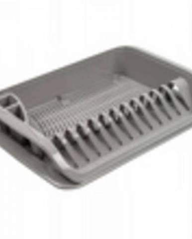 Odkvapávač na riad, plastový, 39,5x39,5x8 cm, šedý