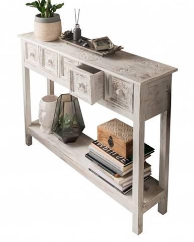 Konzolový stolík MAROCO biela/patina