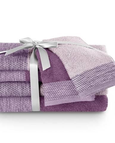 AmeliaHome Sada uterákov a osušiek Aria fialová/slivková, 2 ks 30 x 50 cm, 2 ks 50 x 90 cm