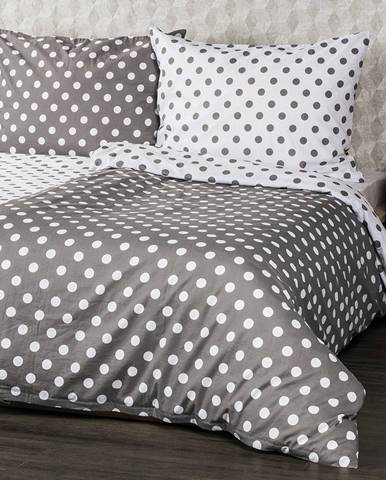 4Home Bavlnené obliečky Sivá bodka, 140 x 220 cm, 70 x 90 cm, 140 x 220 cm, 70 x 90 cm
