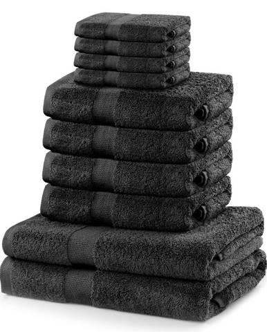 DecoKing Sada uterákov a osušiek Marina tmavosivá, 4 ks 30 x 50 cm, 4 ks 50 x 100 cm