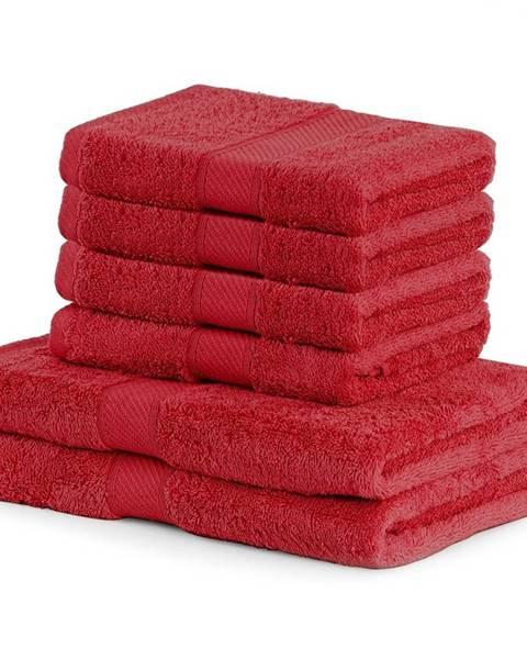 DecoKing DecoKing Sada uterákov a osušiek Bamby červená, 4 ks 50 x 100 cm, 2 ks 70 x 140 cm