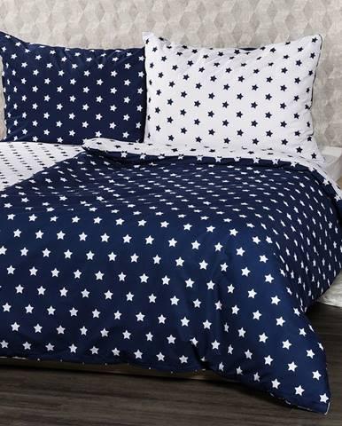 4Home bavlnené obliečky Stars Navy blue, 160 x 200 cm, 70 x 80 cm