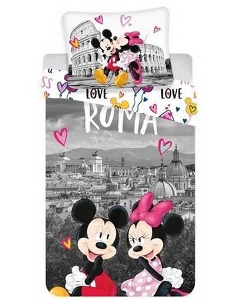 Jerry Fabrics Jerry Fabrics Bavlnené obliečky Mickey and Minnie in Rome, 140 x 200 cm, 70 x 90 cm
