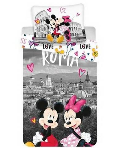 Jerry Fabrics Bavlnené obliečky Mickey and Minnie in Rome, 140 x 200 cm, 70 x 90 cm