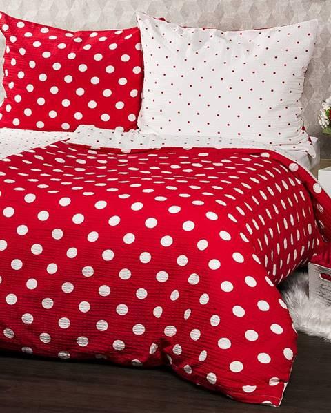 4Home 4Home Krepové obliečky Červená bodka, 160 x 200 cm, 70 x 80 cm