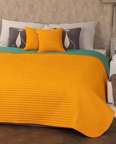 4Home Prehoz na postel Doubleface oranžová/zelená
