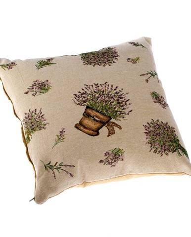 Dakls Obliečka na vankúšik Levanduľa v kvetináči béžová, 40 x 40 cm