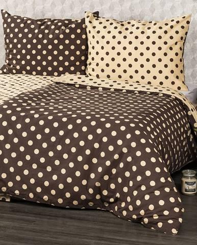 4home Bavlnené obliečky Bodka Čokoláda, 220 x 200 cm, 2 ks 70 x 90 cm