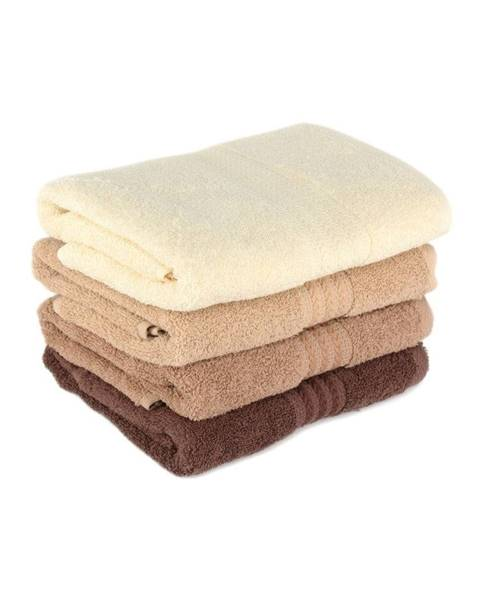 Hobby Súprava 4 hnedých bavlnených uterákov Rainbow Home, 50×90cm