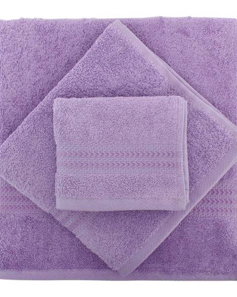 Hobby Set 3 fialových uterákov z bavlny a osušky Rainbow