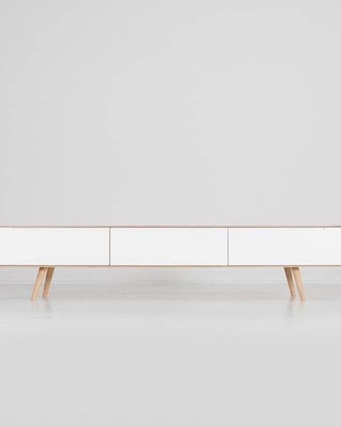 Gazzda Televízny stolík z dubového dreva Gazzda Ena, 225×42×45 cm