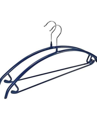 Sada 2 modrých protišmykových vešiakov na oblečenie Wenko Hanger Combi