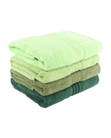 Súprava 4 zelených bavlnených uterákov Rainbow, 50 x 90 cm