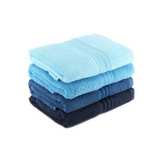 Súprava 4 modrých bavlnených osušiek Rainbow Sky, 70×140cm