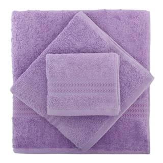 Set 3 fialových uterákov z bavlny a osušky Rainbow
