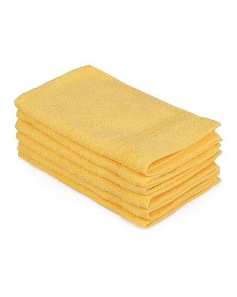 Hobby Sada 6 žltých bavlnených uterákov Madame Coco Lento Amarillo, 30×50 cm