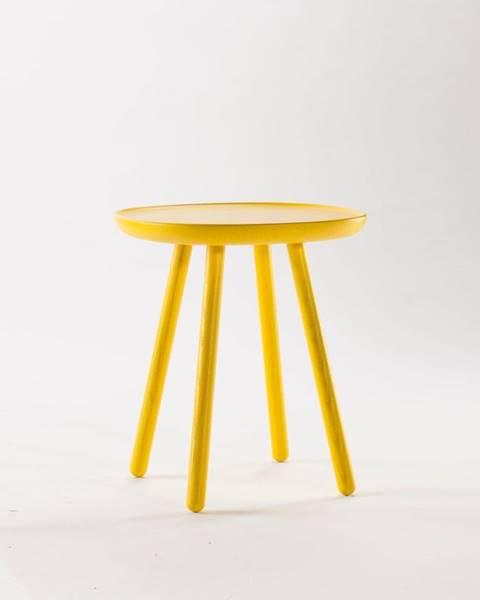 EMKO Žltý odkladací stolík z masívu EMKO Naïve, ⌀45cm
